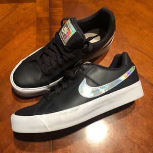 Leather & holographic Nike low top sneakers